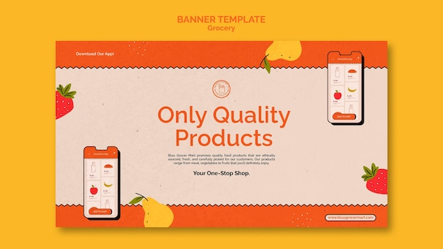 Grocery delivery service banner template