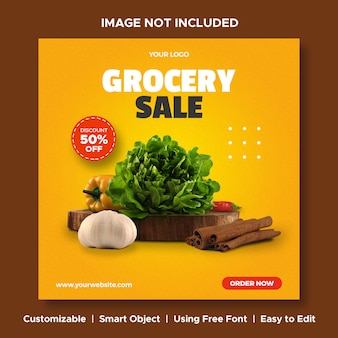 Grocery sale food discount menu promotion social media instagram post banner template