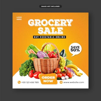 Grocery sale instagram post banner template