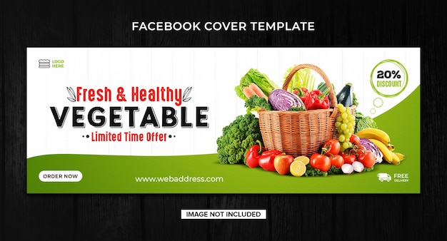Grocery or vegetable food facebook cover template