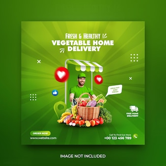 Grocery and vegetable sale home delivery social media promotion post template