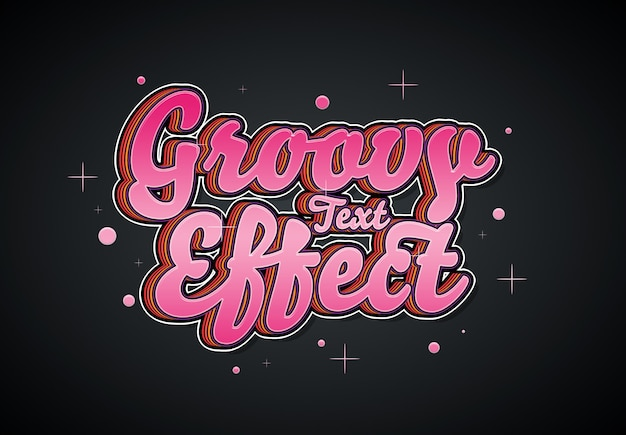 Groovy text effect mockup
