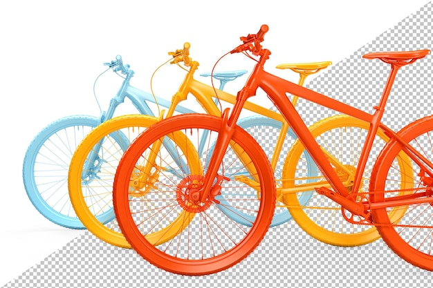 Group of colorful bicycles 3d rendering