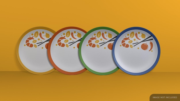 Group of decorated plate mockup