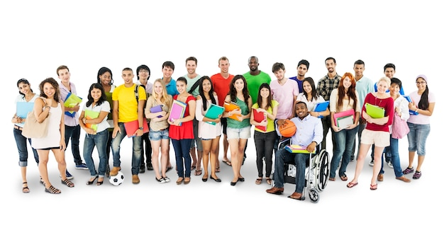 Group of diverse college students isolated on white