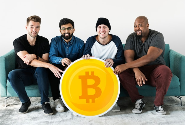 Group of diverse friends with cryptocurrency concept