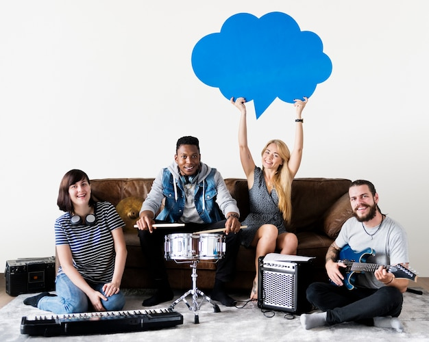 Group of diverse people playing music