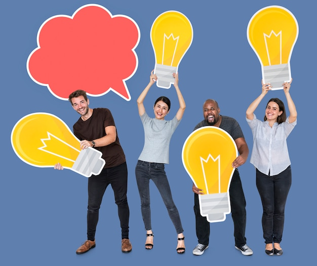Group of diverse people with bright light bulbs and a blank speech bubble