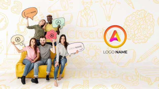 Group of friends sitting on a couch and logo name