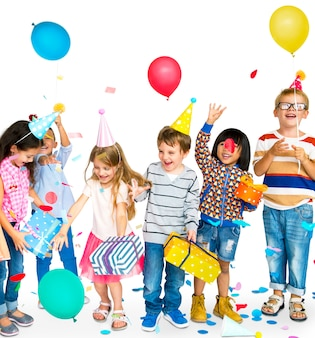 Group of happy diverse children and party concept