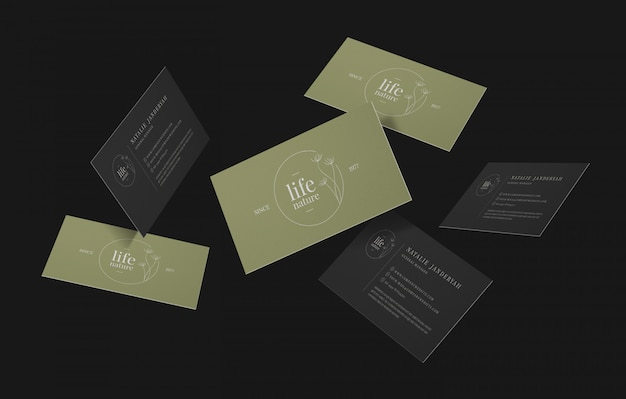Group of minimal business cards mockup