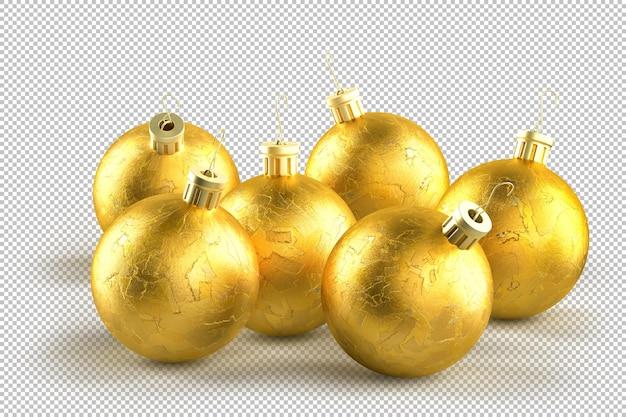 Группа декоративных золотых новогодних шаров. 3d-рендеринг