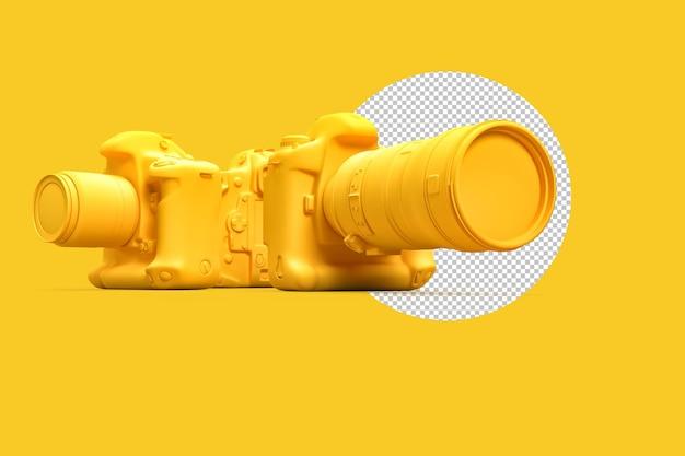 노란색 배경에 존재하지 않는 dslr 카메라 그룹입니다. 3d 렌더링