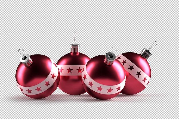 Группа красных декоративных новогодних шаров. 3d-рендеринг