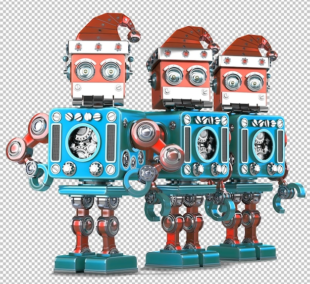 산타 로봇 그룹. 기술 크리스마스 개념