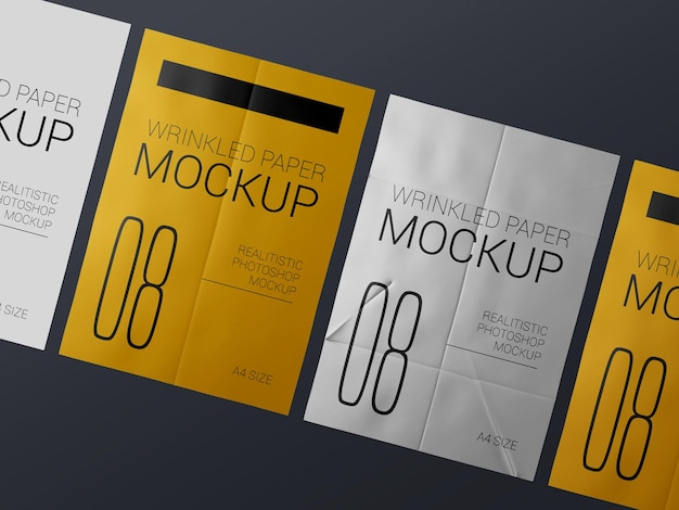 A group of  realistic wrinkled poster template mockup. glued paper wet wrinkled posters mockup