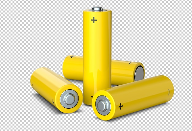 Group of yellow rechargeable aa size batteries