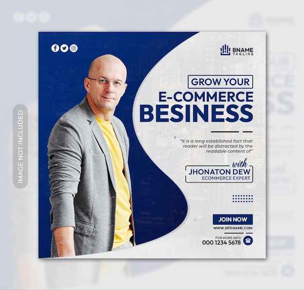 Grow ecommerce business square flyer or instagram banner social media post template