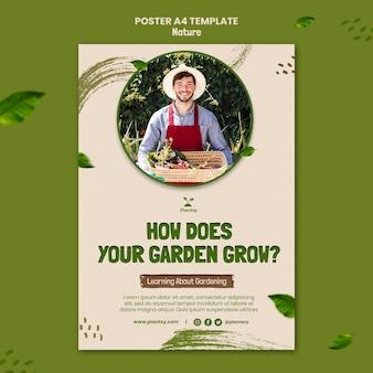 Grow garden poster template