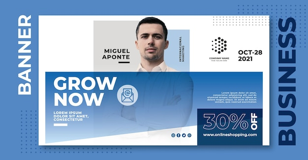 Grow now business banner template