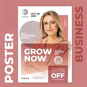 Шаблон бизнес-плаката grow now