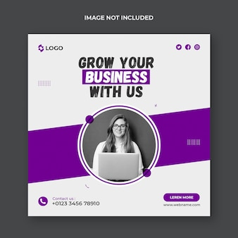 Grow your business social media post and web banner template