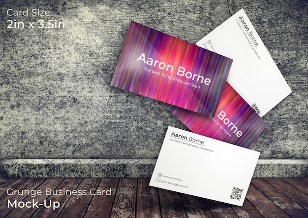 Grunge 3d business card mock up in a 3d room