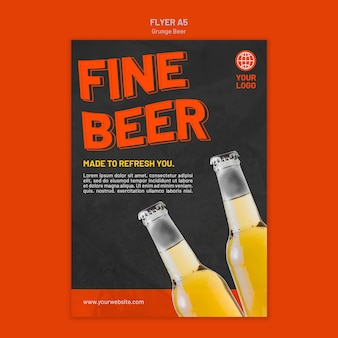 Grunge beer flyer template