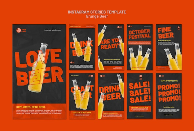 Grunge beer instagram stories template
