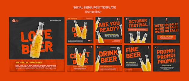 Grunge beer social media post template