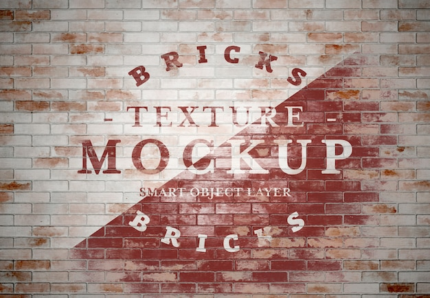 Grunge brick texture mockup