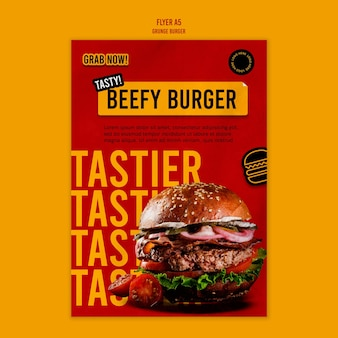 Grunge burger flyer template