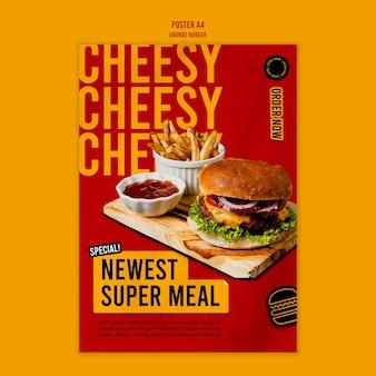 Grunge burger poster template