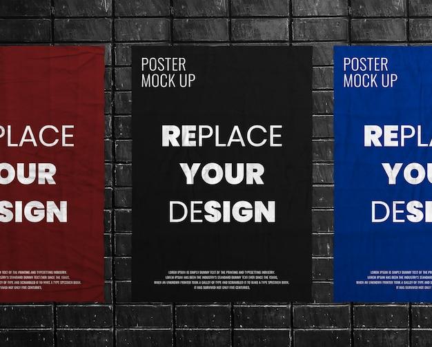 Grunge crumpled wrinkled poster mockup