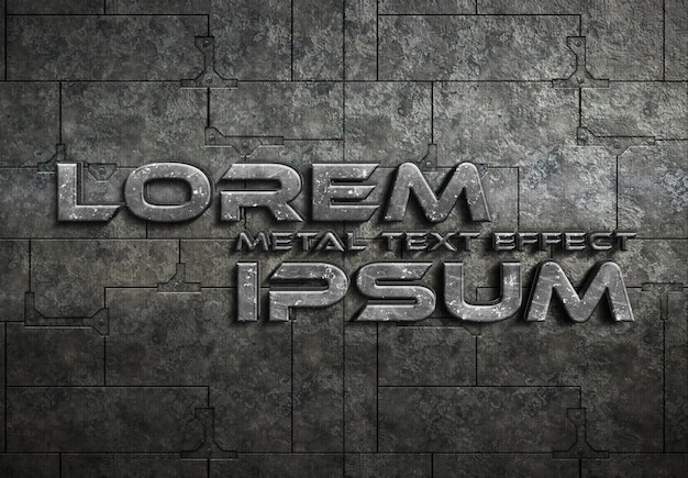 Grunge metal text effect mockup