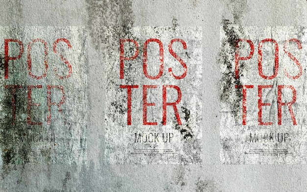Grunge print poster on concrete wall mockup realistic