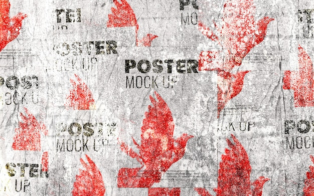 Grunge street collage poster wall mockup realistic