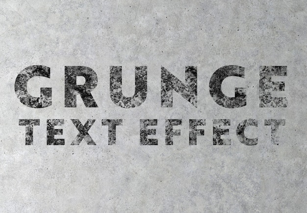 Grunge text effect on concrete texture mockup