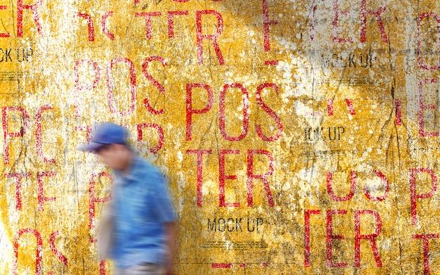 Grunge wall poster walking street mockup
