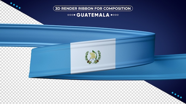 Guatemala 3d render ribbon for composition