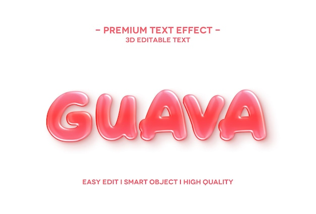 Guava 3d text style effect text template