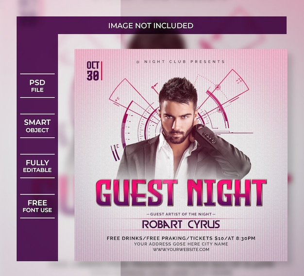 Guest night party flyer template