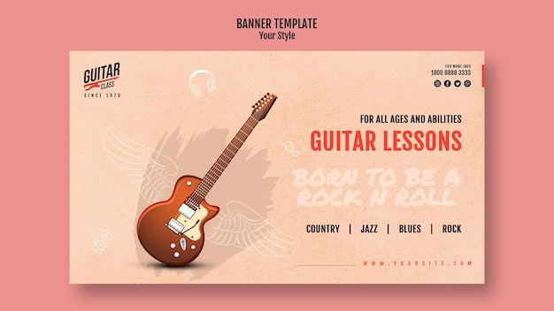 Guitar lessons banner template