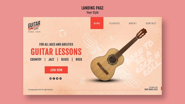 Guitar lessons landing page template