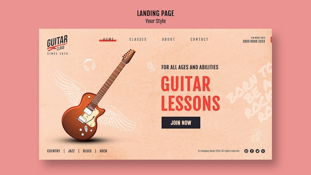 Шаблон целевой страницы уроков игры на гитаре