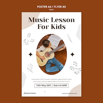Guitar lessons print template Free Psd