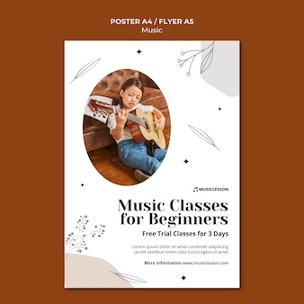 Guitar lessons print template