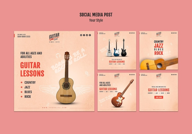Guitar lessons social media post template