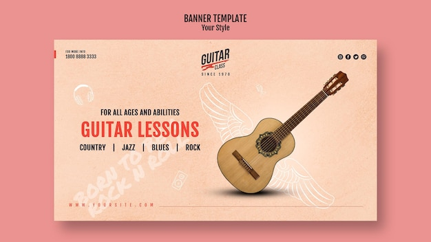 Guitar lessons template banner