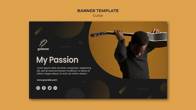 Guitar player banner template style